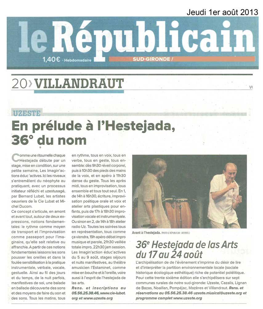Le Républicain du 01 aout 2013